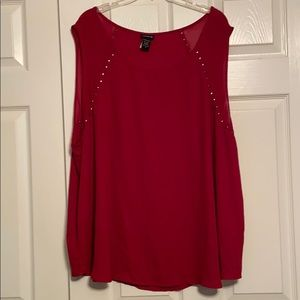 Torrid Deep Red Tank with Silver Accent Studs